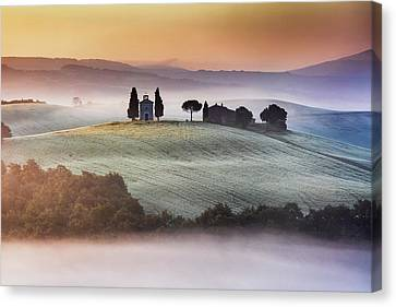 Tuscany Church On The Hill Canvas Print by Evgeni Dinev