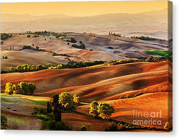 Tuscany Countryside Landscape At Sunrise Canvas Print by Michal Bednarek