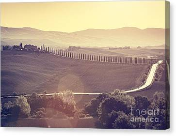 Tuscany Fields And Valleys Autumn Landscape, Italy. Sunset, Vintage Light Canvas Print by Michal Bednarek