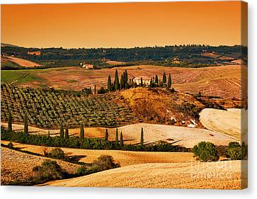 Tuscany Landscape At Sunset Canvas Print by Michal Bednarek