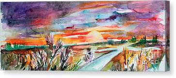 Canvas Print featuring the painting Tuscany Landscape Autumn Sunset Fields Of Rye by Ginette Callaway
