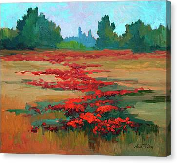 Tuscany Poppy Field Canvas Print by Diane McClary