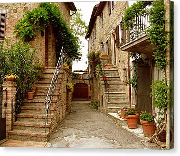 Canvas Print featuring the photograph Tuscany Stairways by Donna Corless