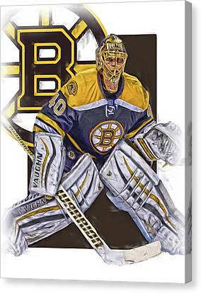 Tuukka Rask Boston Bruins Oil Art 1 Canvas Print by Joe Hamilton
