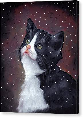 Tuxedo Cat With Snowflakes Canvas Print by Joyce Geleynse