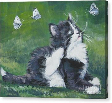 Tuxedo Kitten Canvas Print by Lee Ann Shepard