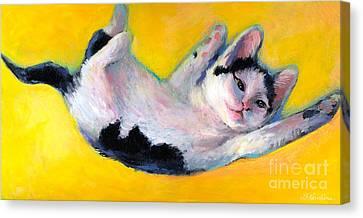 Tuxedo Kitten Painting Canvas Print by Svetlana Novikova