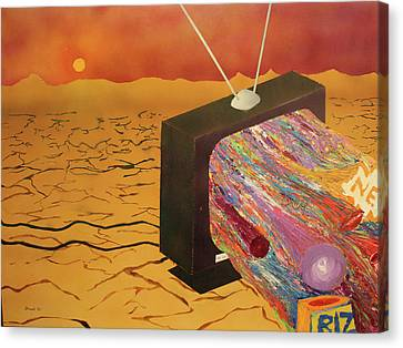 Canvas Print featuring the painting Tv Wasteland by Thomas Blood