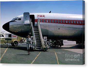 Fixed Wing Multi Engine Canvas Print - Twa Boeing 707, August 1965 by Wernher Krutein