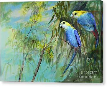 Two Pale-faced Rosellas Canvas Print