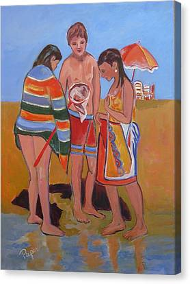 Canvas Print featuring the painting Tweens At The Beach by Betty Pieper