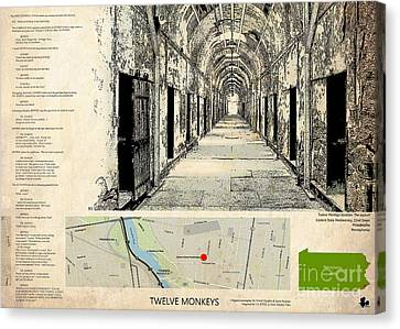 Twelve Monkeys Location Movie, Script, Brad Pitt, Bruce Willis Canvas Print by Pablo Franchi