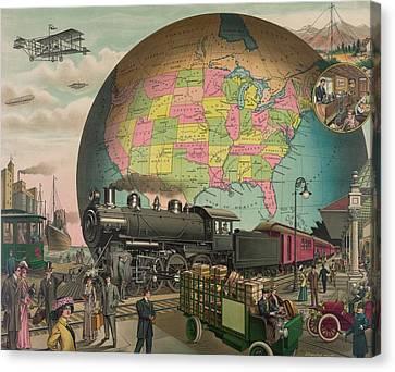 Twentieth Century Transportation. 1910 Canvas Print by Everett