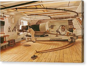 Twenty-seven Pound Cannon On A Battleship Canvas Print by Gustave Bourgain