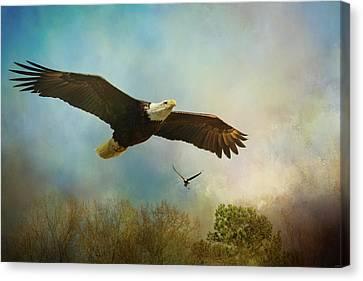 Twice The Power Bald Eagle Art Canvas Print by Jai Johnson