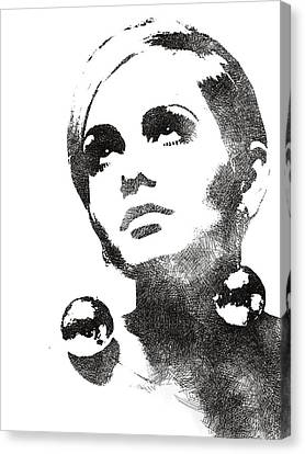 Twiggy Bw Portrait Canvas Print by Mihaela Pater