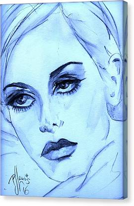 Twiggy Canvas Print - Twiggy In Blue by PJ Lewis