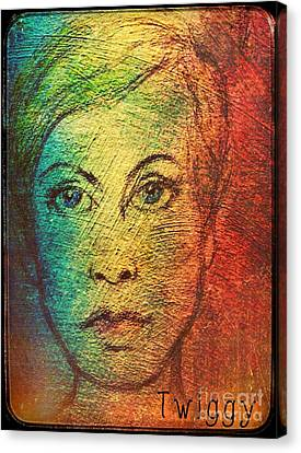 Twiggy In Oils Canvas Print by Joan-Violet Stretch