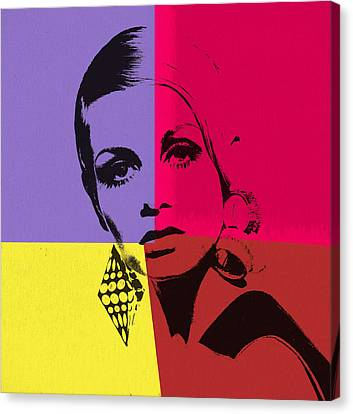 Twiggy Pop Art 1 Canvas Print by Dan Sproul
