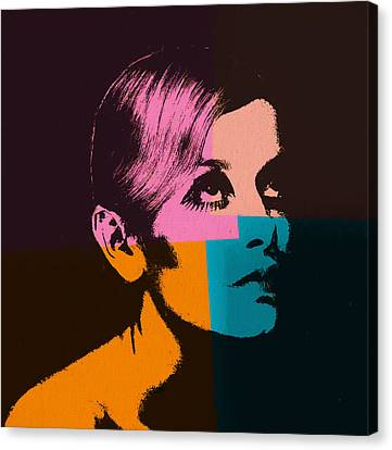 Twiggy Pop Art 2 Canvas Print by Dan Sproul