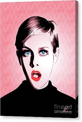 Twiggy - Pop Art - Digital Art Canvas Print by William Cuccio aka WCSmack