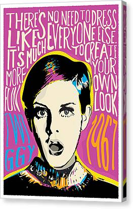 Twiggy Canvas Print - Twiggy Pop Art Portrait by BONB Creative
