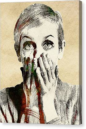 Twiggy Surprised Canvas Print by Mihaela Pater