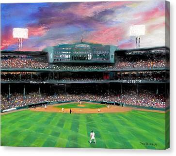 Baseball Canvas Print - Twilight At Fenway Park by Jack Skinner