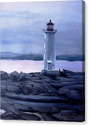 Canvas Print featuring the painting Twilight At Peggy's Cove by Patricia L Davidson
