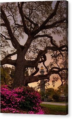 Twilight At St. Simons Lighthouse Canvas Print by Chris Bordeleau