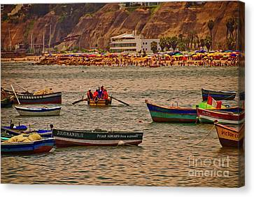 Canvas Print featuring the photograph Twilight At The Beach, Miraflores, Peru by Mary Machare