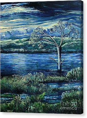 Twilight At The River Canvas Print by Caroline Street