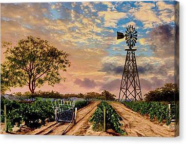 Wagon Wheels Canvas Print - Twilight At The Vineyard by Ron Chambers
