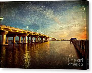 Twilight Biloxi Bridge Canvas Print by Joan McCool