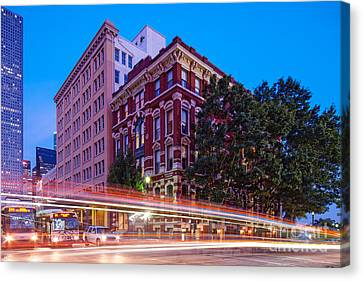Twilight Blue Hour Shot Of The Cotton Exchange Building In Downtown Houston - Harris County Texas  Canvas Print by Silvio Ligutti