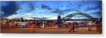 Canvas Print featuring the photograph Twilight By The Bridge By Kaye Menner by Kaye Menner