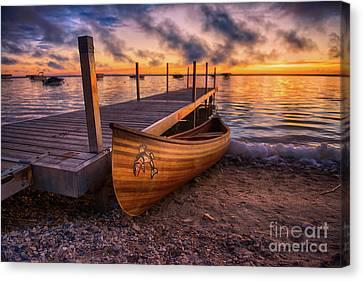 Twilight Canoe Canvas Print