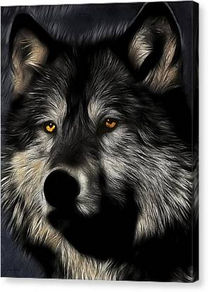 Twilight Eyes Of The Lone Wolf Canvas Print by Wingsdomain Art and Photography