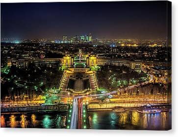 Trocadero Canvas Print - Twilight From The Eiffel Tower by Andrew Soundarajan