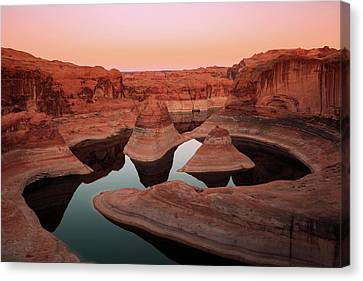 Canvas Print featuring the photograph Twilight Glow In Reflection Canyon, Lake Powell, Utah. by Johnny Adolphson