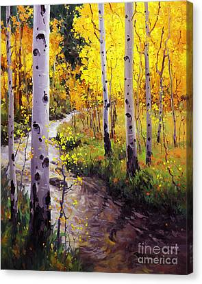 Giclee Trees Canvas Print - Twilight Glow Over Aspen by Gary Kim