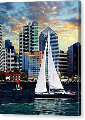 I Am Sailing Canvas Print - Twilight Harbor Curise1 by Chambers and  De Forge