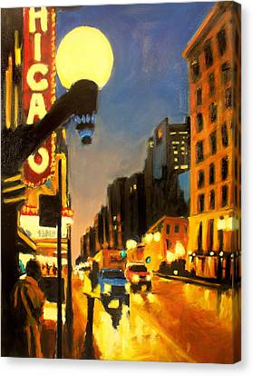 Twilight In Chicago - The Watcher Canvas Print by Robert Reeves