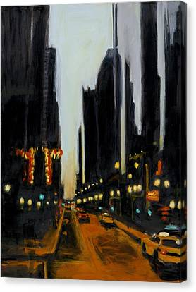 Twilight In Chicago Canvas Print by Robert Reeves