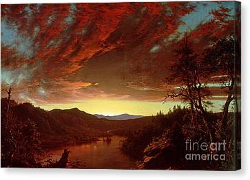 Setting Canvas Print - Twilight In The Wilderness by Frederic Edwin Church