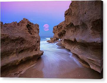 Twilight Moon Rising Over Hutchinson Island Beach Rocks Canvas Print