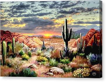 Twilight On The Desert Canvas Print by Ron Chambers