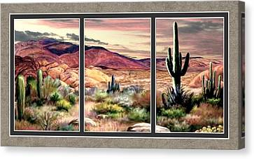 Twilight On The Desert Split Image Canvas Print by Ron Chambers