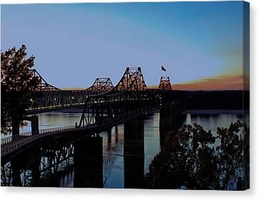 Twilight On The Mississippi - Vicksburg Bridges Canvas Print by Barry Jones