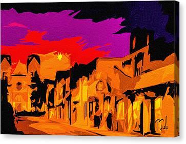 Twilight On The Plaza Santa Fe Canvas Print